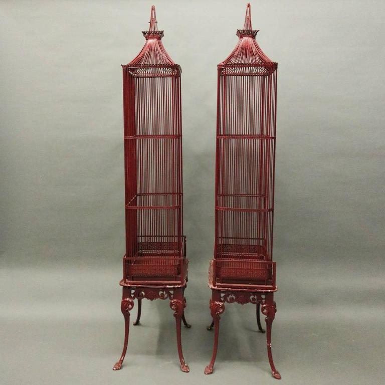Pair of Vintage French Chinoiserie Pagoda Bird Cage Display Cabinets, circa 1940 2