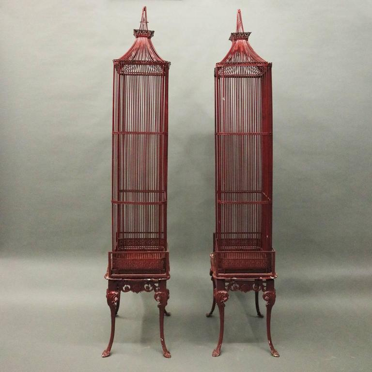 Pair of Vintage French Chinoiserie Pagoda Bird Cage Display Cabinets, circa 1940 4