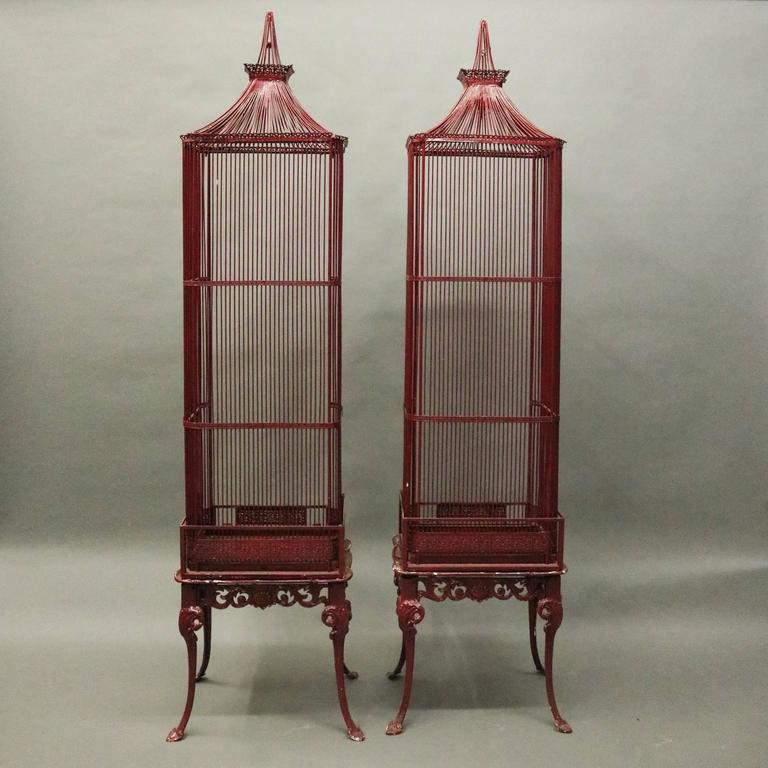 Pair of Vintage French Chinoiserie Pagoda Bird Cage Display Cabinets, circa 1940 3