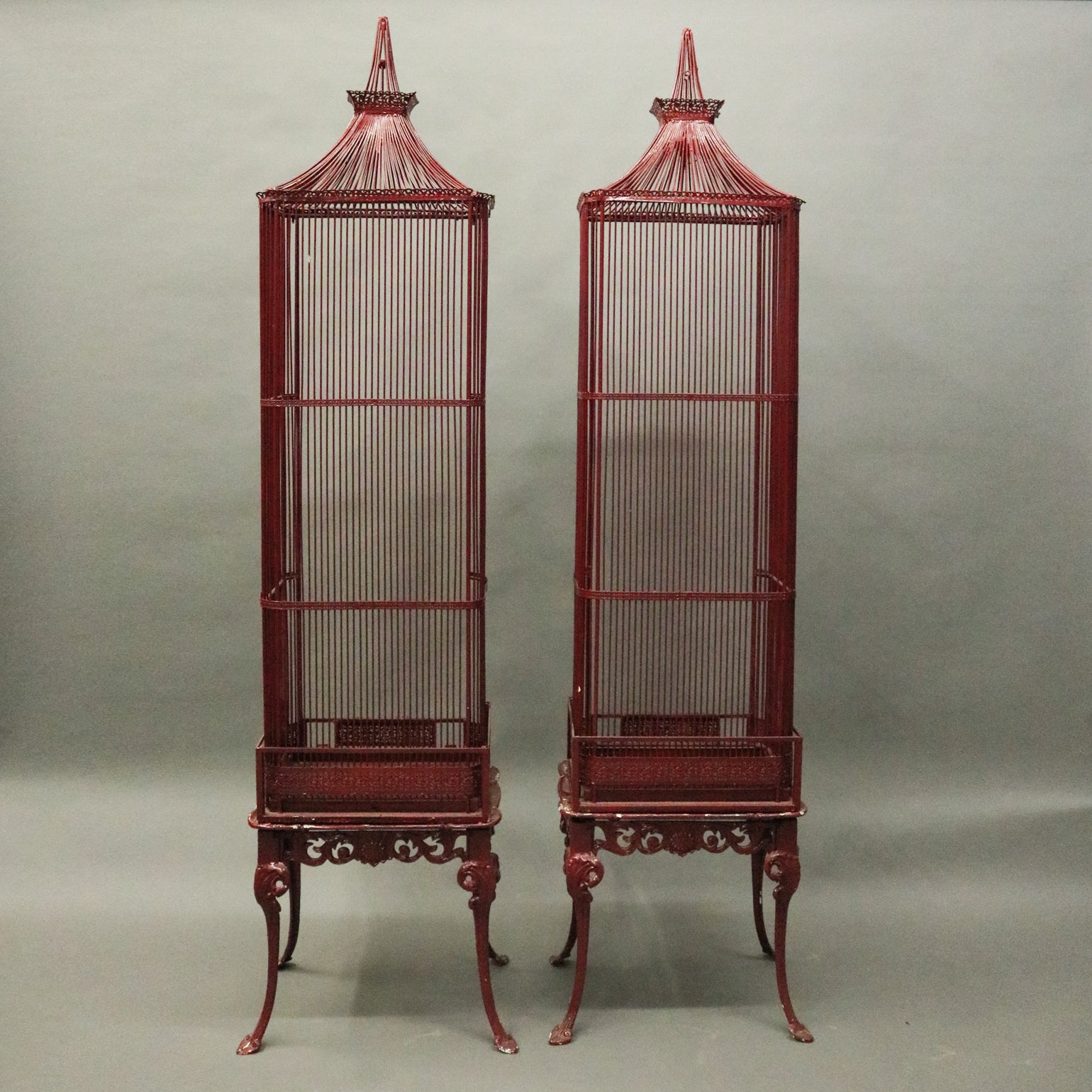 Pair Of Vintage French Chinoiserie Pagoda Bird Cage Display Cabinets,