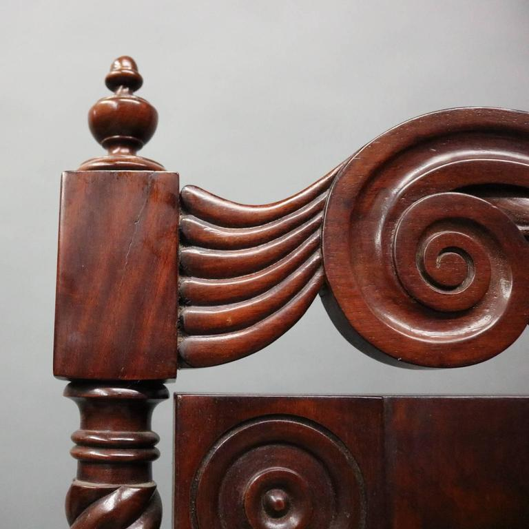 Antique Carved Flame Mahogany And Bronze Sheraton Mirrored