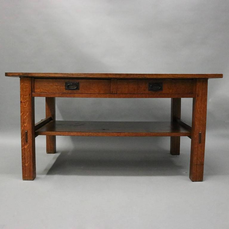 Antique Early Arts And Crafts Gustav Stickley Mission Oak Library Table  Features Two Drawers, Lower