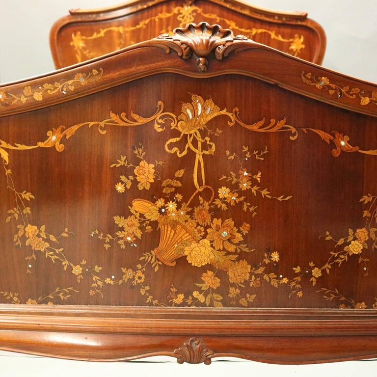 King Mother Of Pearl Headboard By The Yard: Antique R.J. Horner Mahogany Marquetry And Mother-of-Pearl