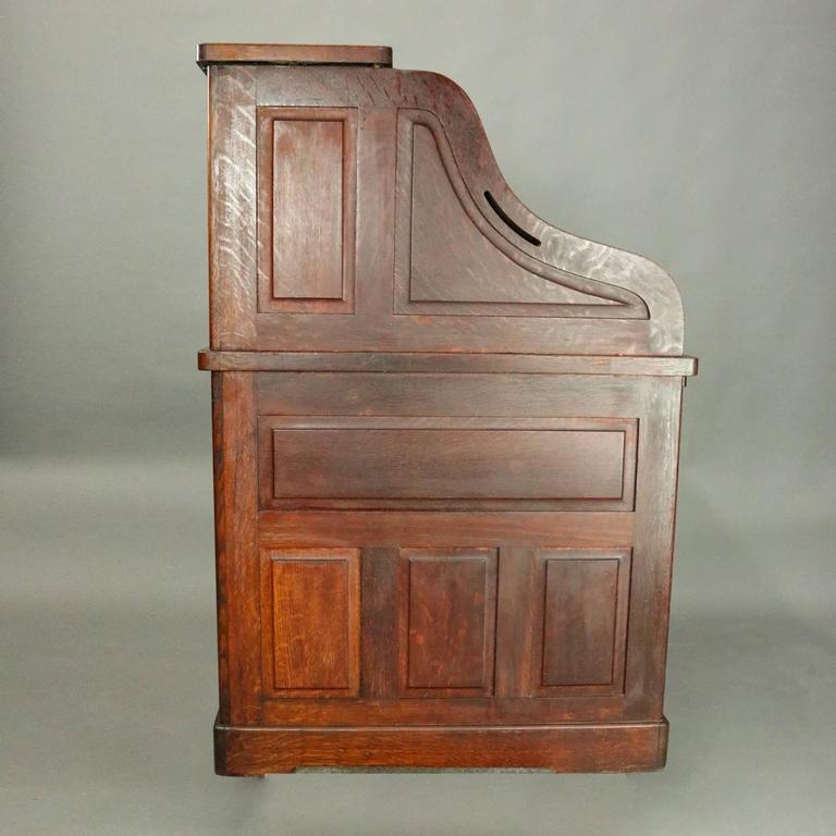 Antique Standard Furniture Co Oak Raised Panel Roll Top