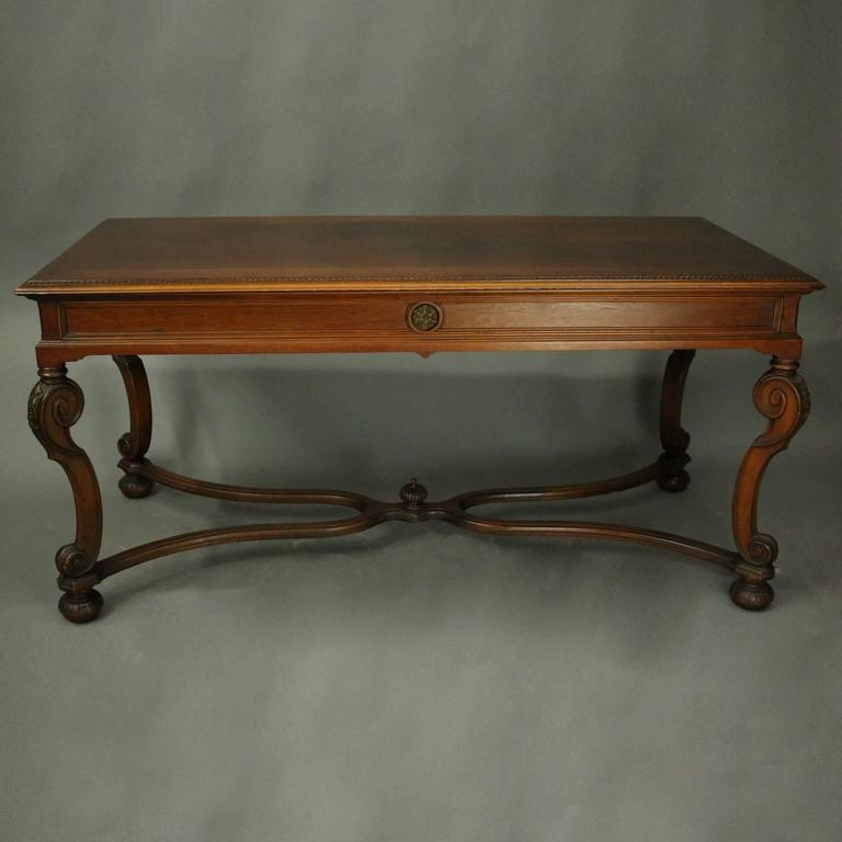 Antique french louis xiv style carved walnut and burl sofa table circa 1920 at 1stdibs - Louis xiv sofa ...