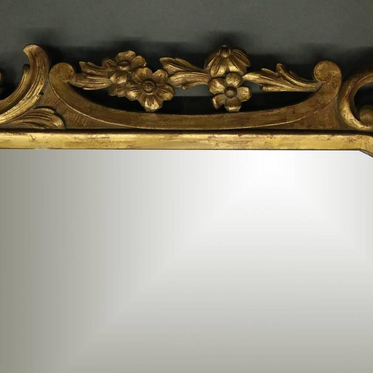 Antique French Gold Giltwood Wall Mirror Features Pierced Surround With Scroll Foliate And Gadrooning