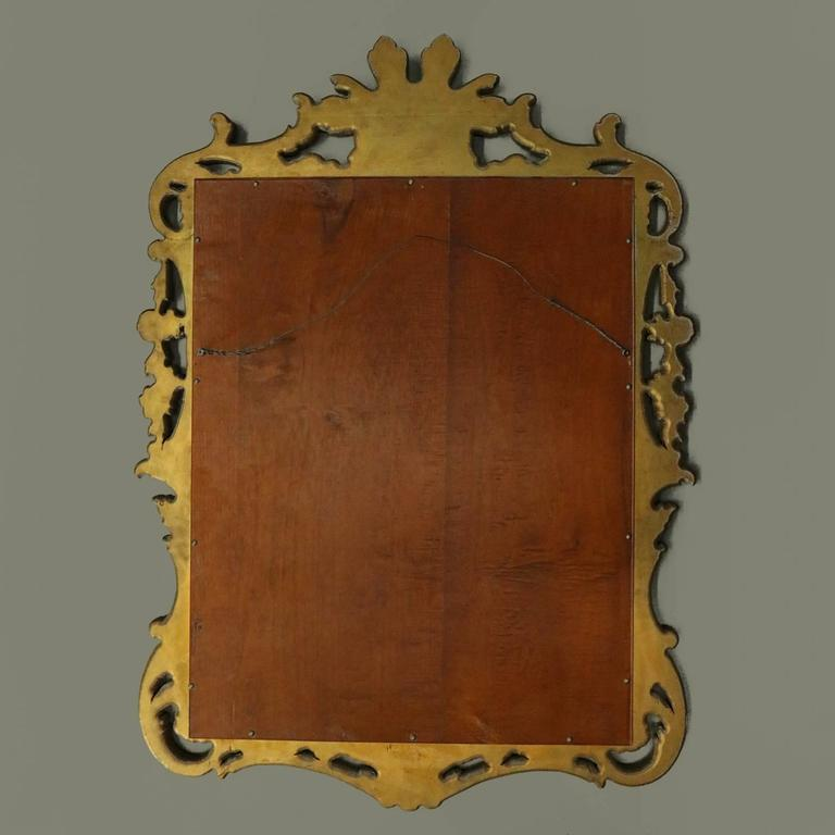 Antique Scroll Design: Antique French Pierced Gold Giltwood Wall Mirror, Scroll