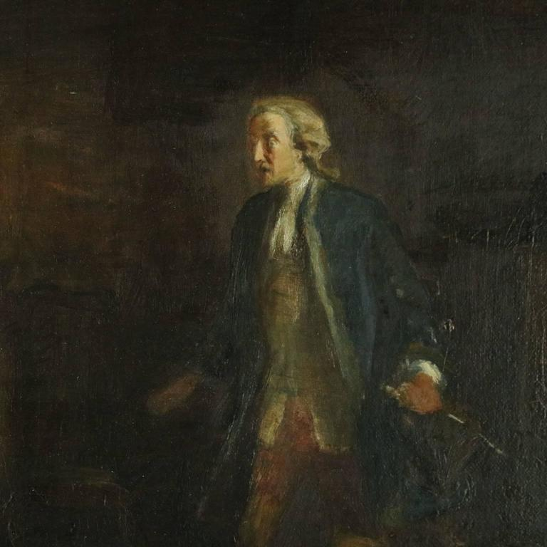 1800 S Colonial Scene On Demand: Antique Genre Oil On Canvas, Colonial Courting Scene, Deep