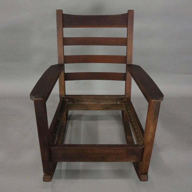 Antique Early Arts And Crafts Signed Gustav Stickley Oversized Rocking Chair  Features Mission Oak Slat