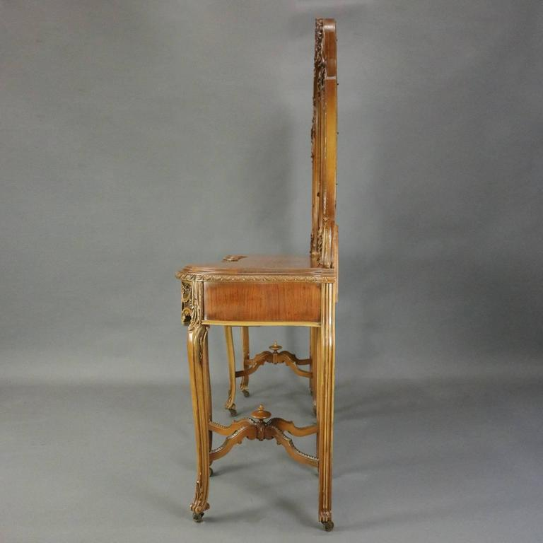 Antique French Neoclassical Carved Walnut Vanity with