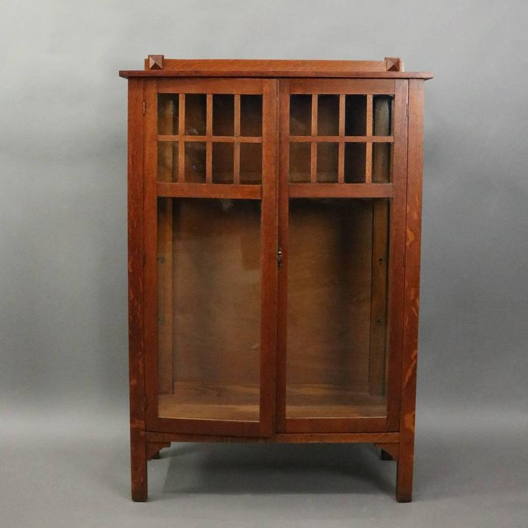 Antique Arts And Crafts Mission Oak China Cabinet Features Traditional  Simple And Functional Design With Double