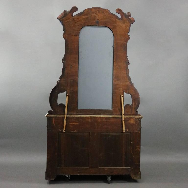 Antique Renaissance Revival Carved Walnut And Marble
