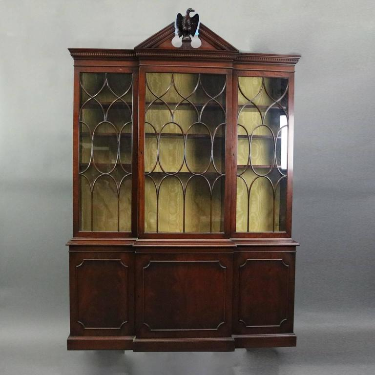 Antique Federal style two-piece breakfront china cabinet features mahogany  construction with glass front doors - Antique Federal Style Handmade Mahogany Two-Piece Breakfront Cabinet