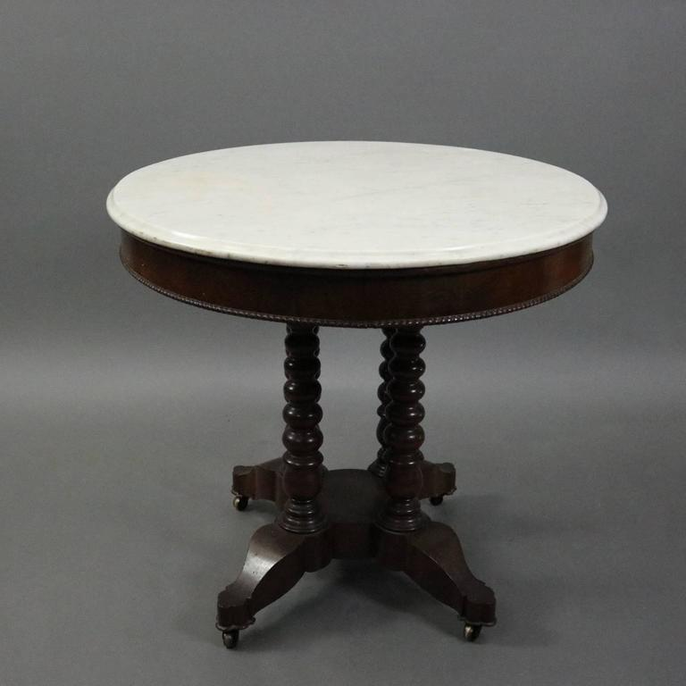 Antique Carved Walnut And Marble Oval Parlor Lamp Table