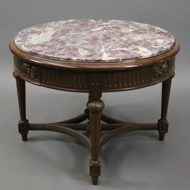 Marble And Carved Wood Accent Table: Vintage French Carved Mahogany And Marble Round End Table