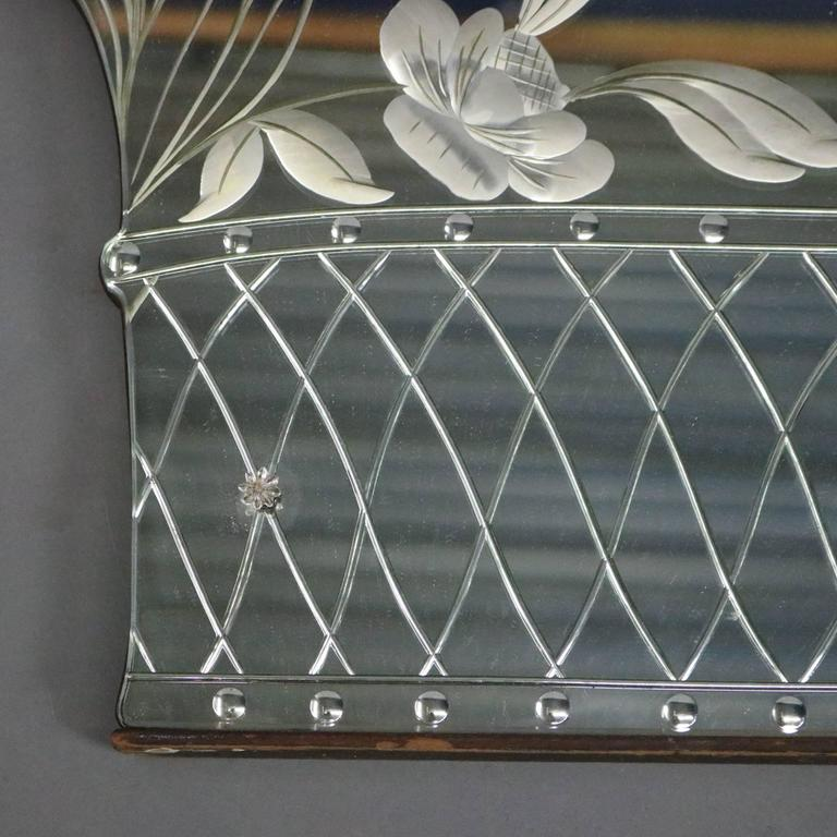 Antique Art Deco Reverse Carved Wall Mirror Basket Of