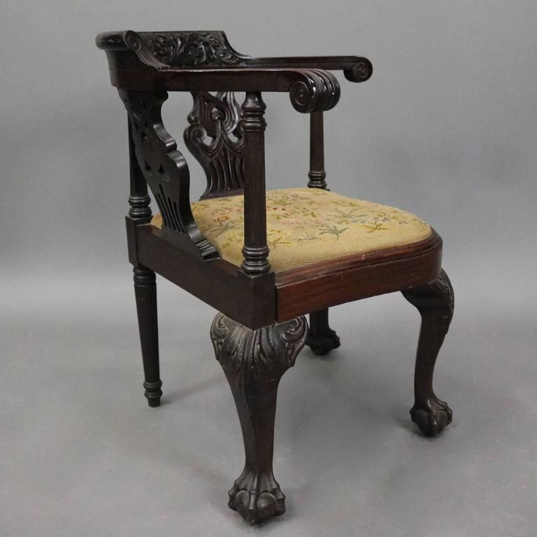 European Antique Chippendale Style Carved Mahogany & Floral Needlepoint  Corner Chair For Sale - Antique Chippendale Style Carved Mahogany And Floral Needlepoint