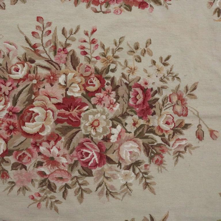Large Aubusson Rug: Vintage Large French Aubusson Needlepoint Wool Rug, Floral