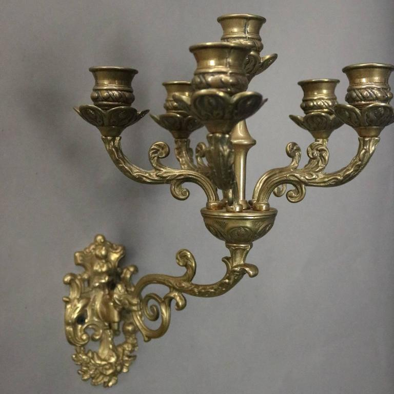 Pair of Antique French Cast Bronze Six-Light Wall Sconce Candelabra, circa 1870 For Sale at 1stdibs