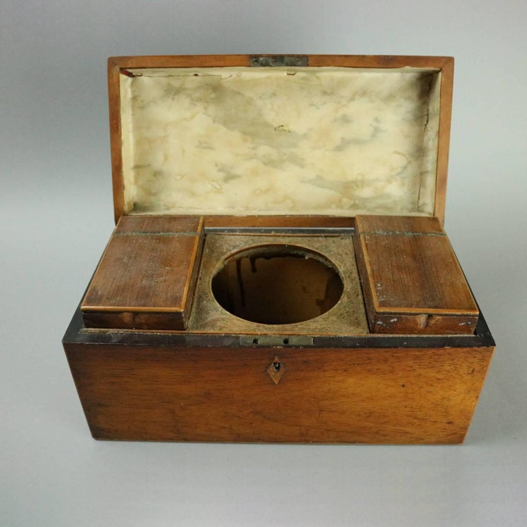 19th Century Antique English Georgian Mahogany Tea Caddy, Inlaid Escutcheon, circa 1870 For Sale
