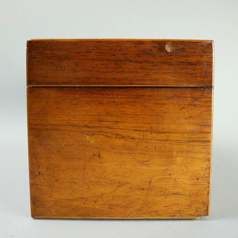 Antique English Georgian Mahogany Tea Caddy, Inlaid Escutcheon, circa 1870 For Sale 4