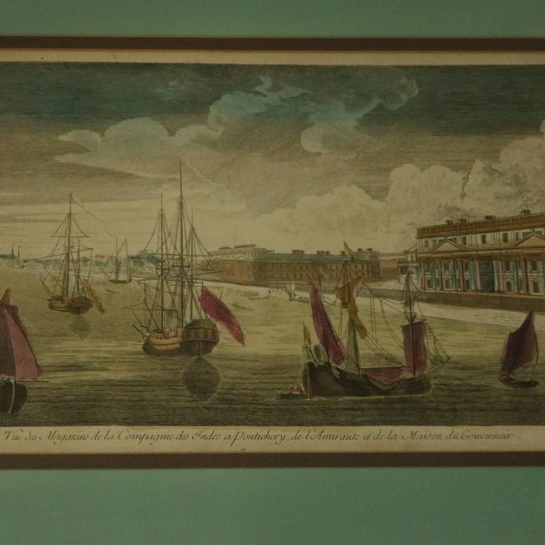 Set of three French 18th century hand colored etchings include,