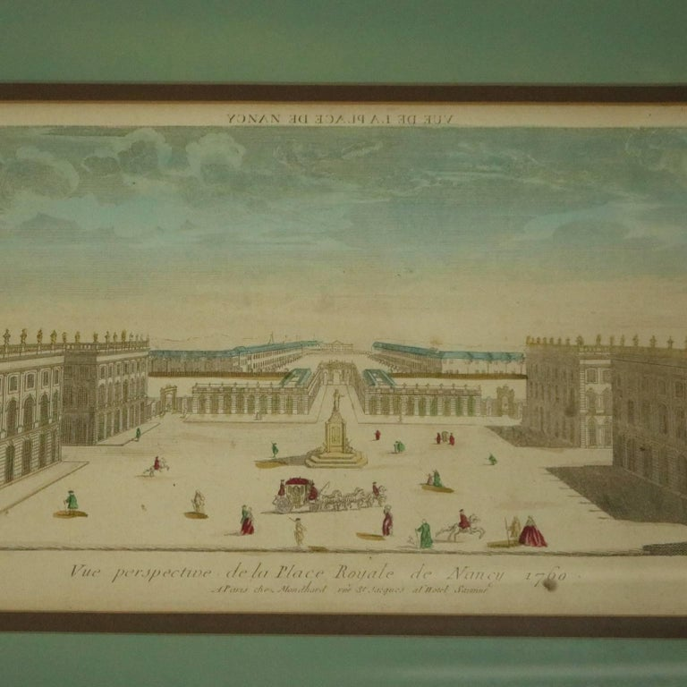 Set of Three French Hand Tinted Etchings