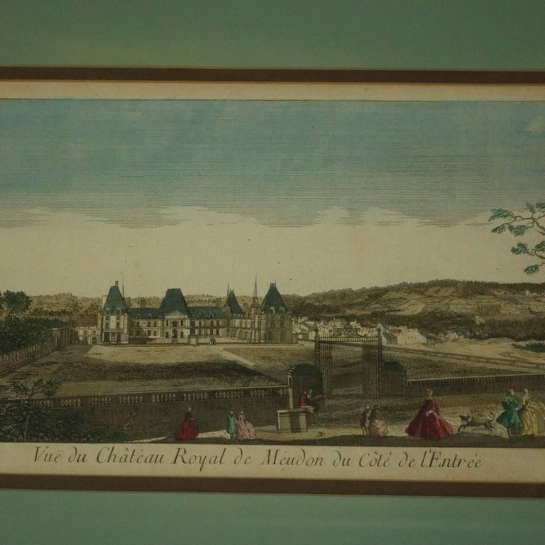 18th Century and Earlier Set of Three French Hand Tinted Etchings