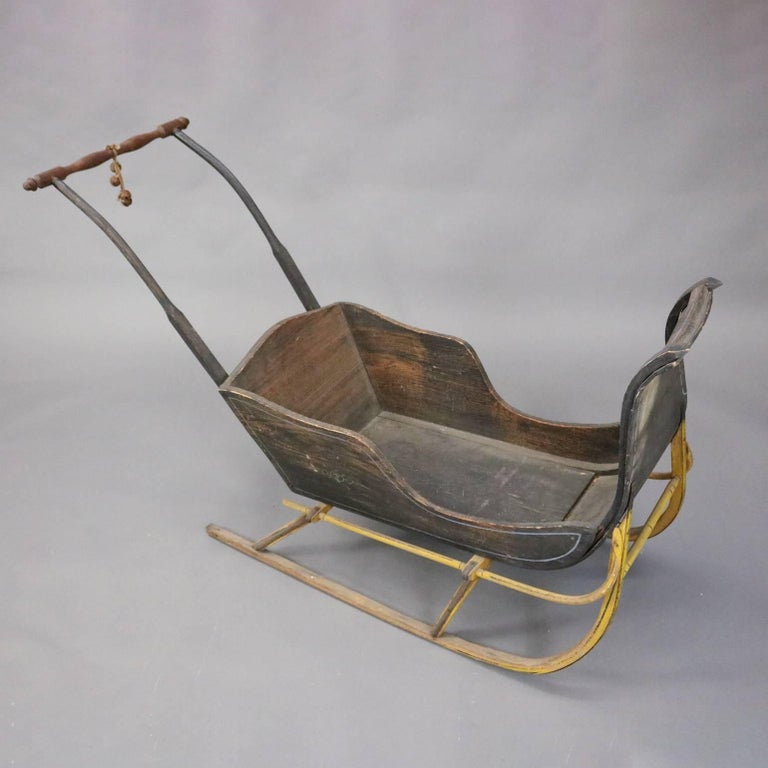 Antique Child S Push Sled With Original Finish And Hand