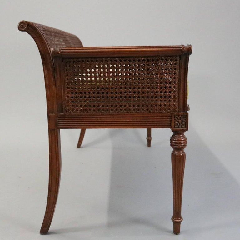 Antique French Classical Carved Mahogany Caned Bench, circa 1840 3