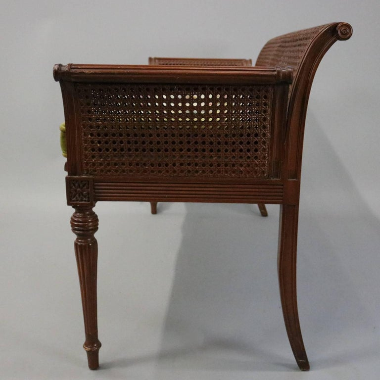 Antique French Classical Carved Mahogany Caned Bench, circa 1840 5