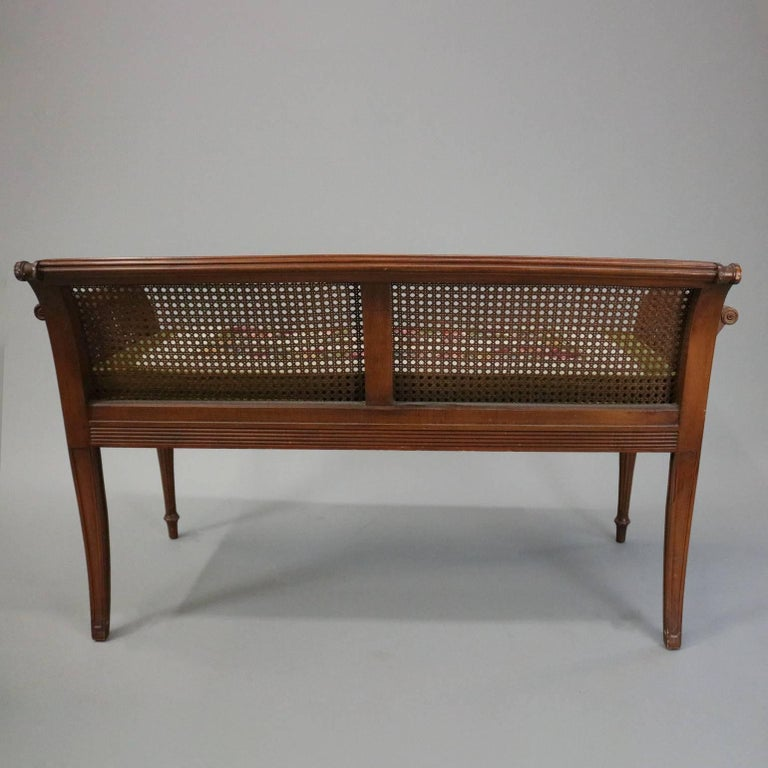 Antique French Classical Carved Mahogany Caned Bench, circa 1840 4