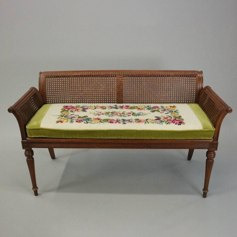 Antique French Classical Carved Mahogany Caned Bench, circa 1840 2