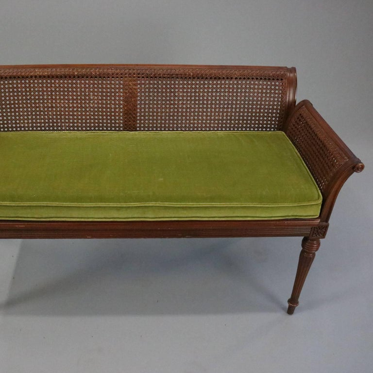 Antique French Classical Carved Mahogany Caned Bench, circa 1840 7
