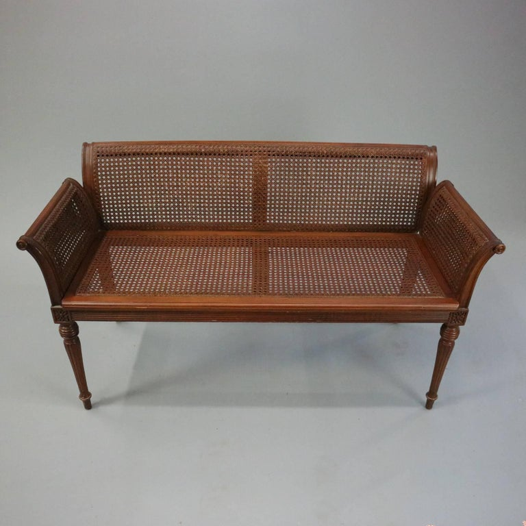 Antique French Classical Carved Mahogany Caned Bench, circa 1840 6