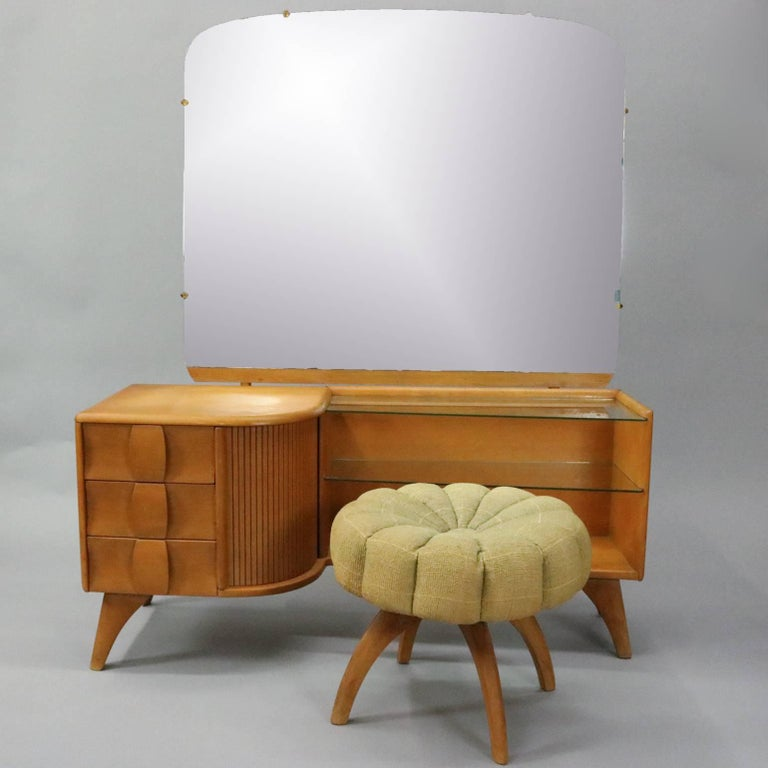 Vintage Heywood-Wakefield Kohinoor mirrored vanity and stool features northern yellow birch wood construction designed by Ernest Herman, circa 1950.