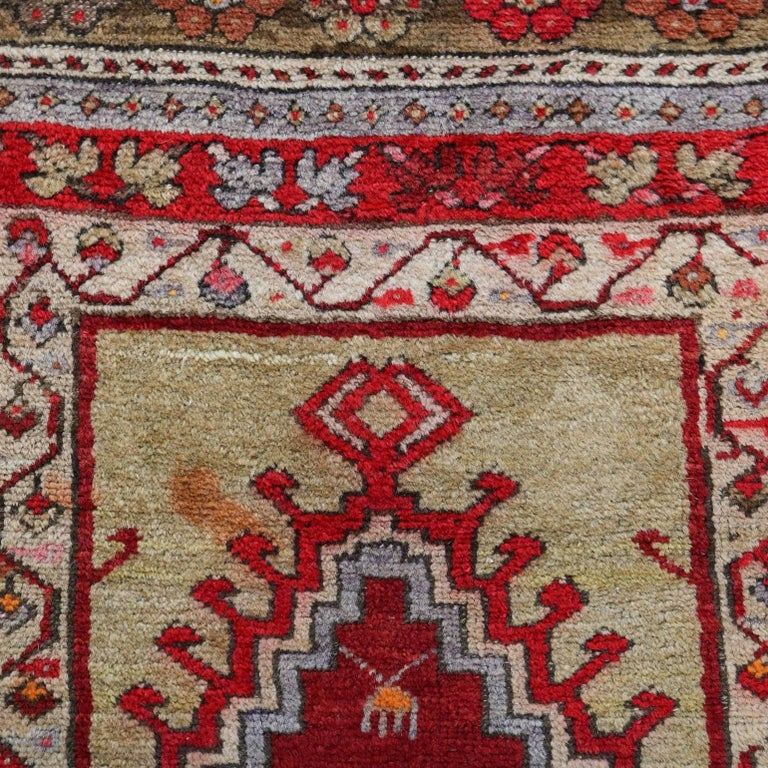 Antique Turkish Oriental Prayer Rug Floral And Foliate