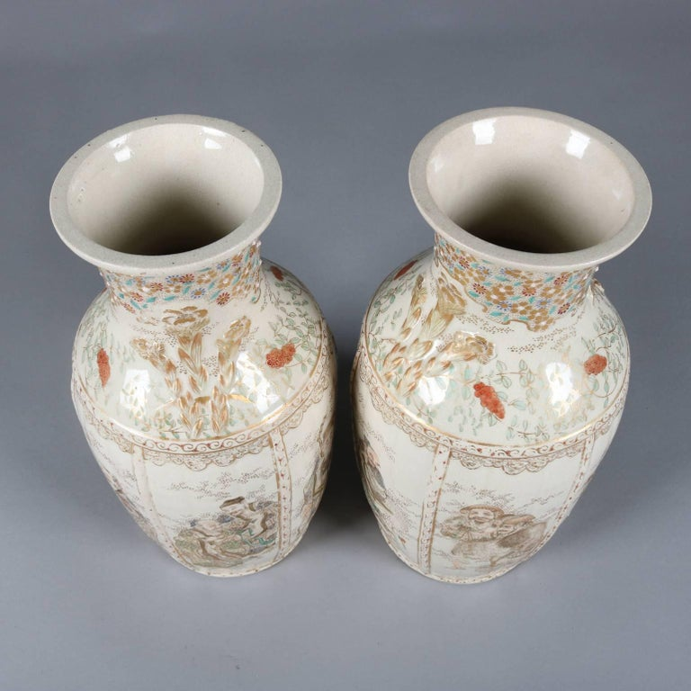 Pair Of Antique And Fine Japanese Gilt Satsuma Meiji Pottery Vases