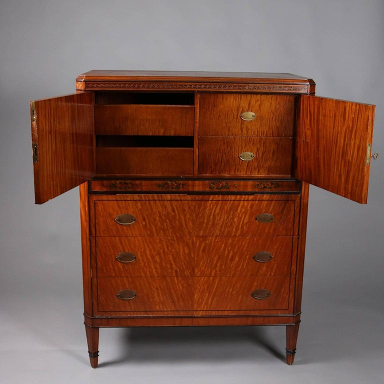 Antique Adam Style Painted And Ebonized Satinwood And Bronze High Chest Circa 1900 For Sale At