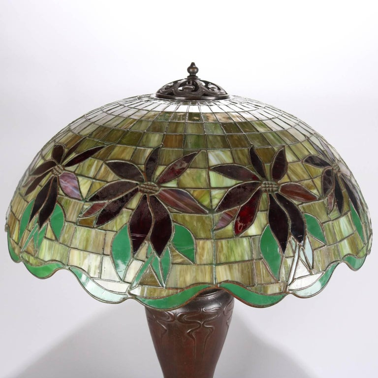 Art Nouveau Antique Handel Mosaic Leaded Stained Glass Table Lamp, Poinsettia Design For Sale