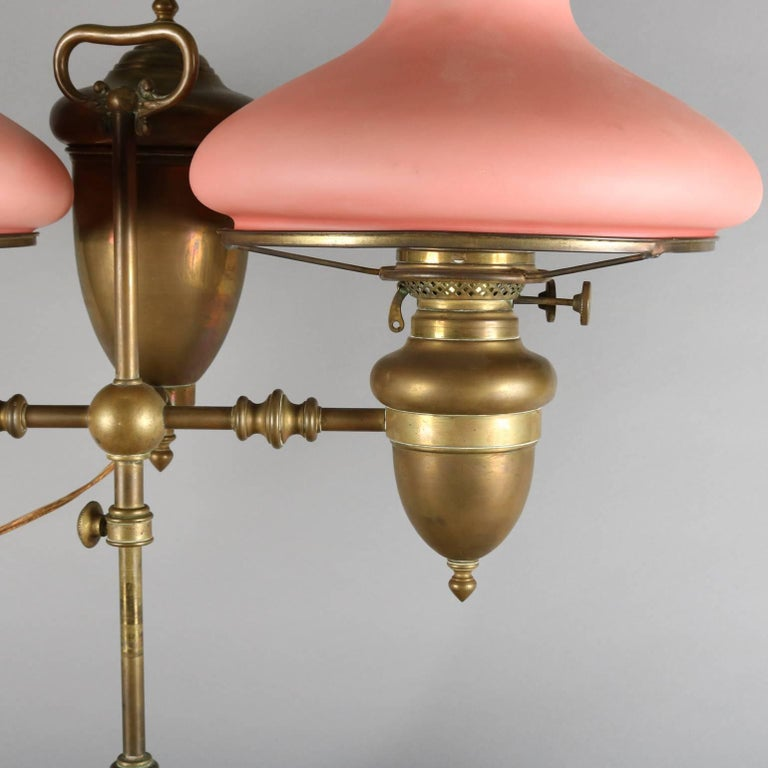 Antique Brass Adjustable Duplex Double Student Lamp With