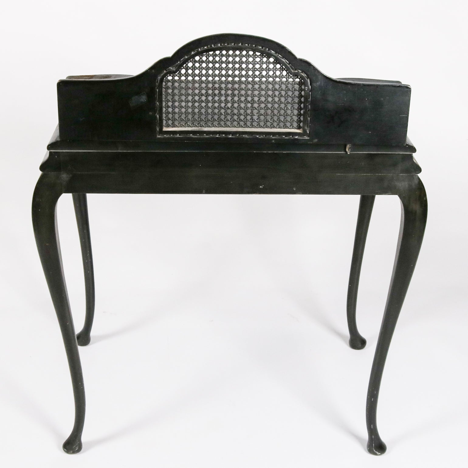Antique Japanned Caned Black Lacquer Paint Decorated Desk And Stool,