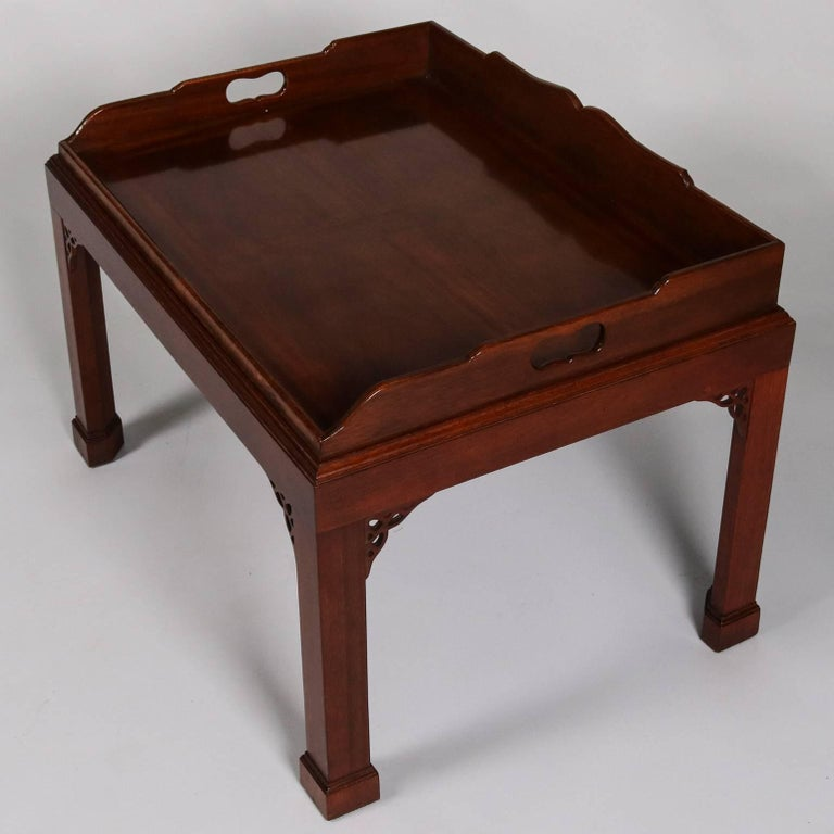 Antique carved mahogany baker chinese chippendale tray top for Antique chinese tables for sale