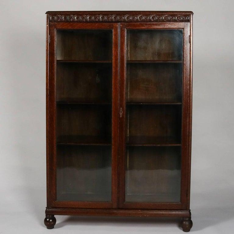 Horner Bros Carved Oak Enclosed Bookcase Scroll And Foliate Trim