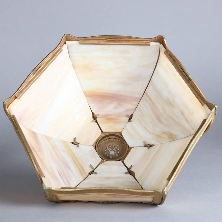 Antique Arts & Crafts Miller & Co Slag Glass Lamp, Filigree Shade, 1911 5