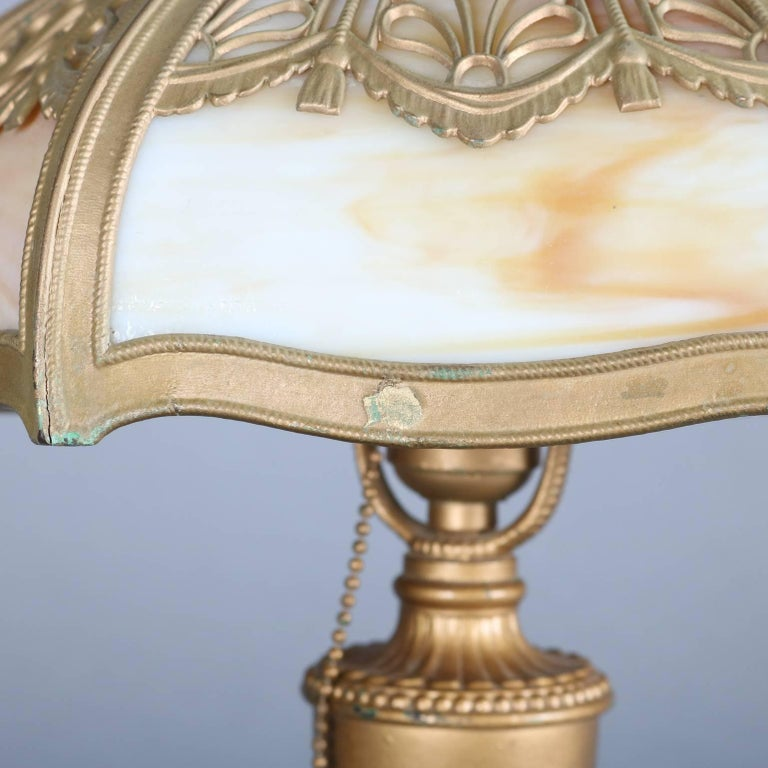 Antique Arts & Crafts Miller & Co Slag Glass Lamp, Filigree Shade, 1911 4