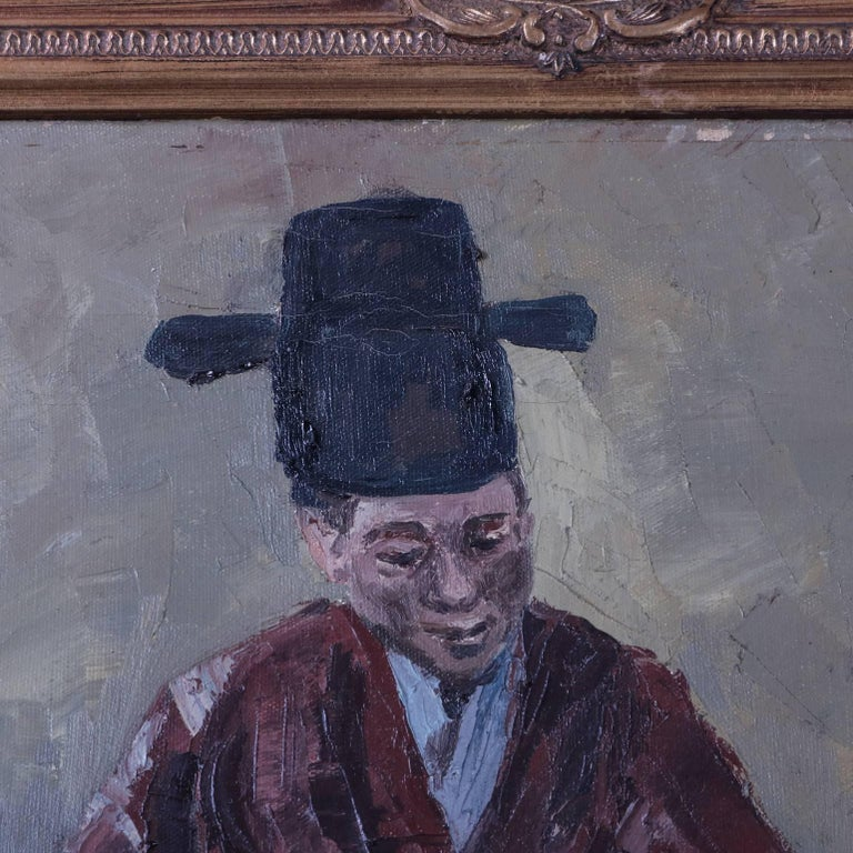 Chinese oil on canvas painting depicts Chinese musician in traditional garb paying his guqin, giltwood surround, Artist-signed chop marks bottom left, 20th century.  ***DELIVERY NOTICE – Due to COVID-19 we are employing NO-CONTACT PRACTICES in the