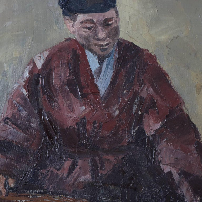 Hand-Painted Chinese Oil on Canvas Signed Painting of Musician Playing a Guqin, 20th Century For Sale