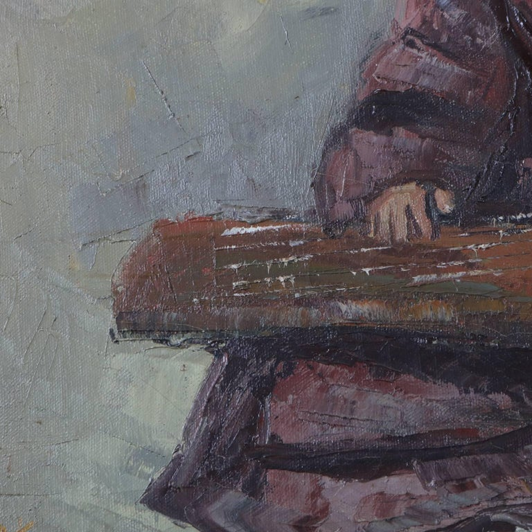 Chinese Oil on Canvas Signed Painting of Musician Playing a Guqin, 20th Century In Good Condition For Sale In Big Flats, NY