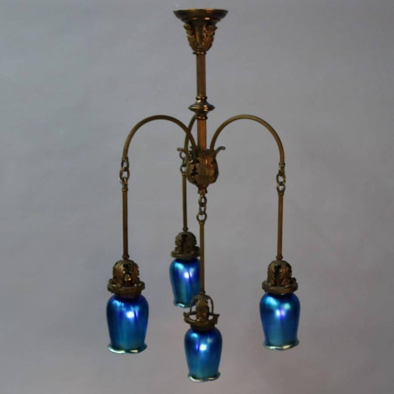 Antique arts and crafts chandelier with steuben school for Arts and crafts chandelier